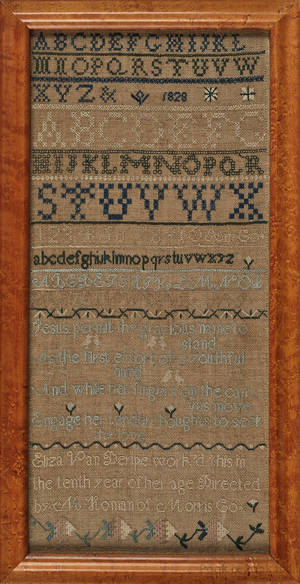 Morris County New Jersey silk on linen band sampler dated