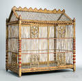 Paintdecorated and Carved Wood and Wire Birdcage