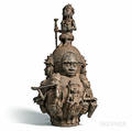 Edostyle Cast Iron Lidded Figural Vessel