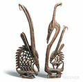 Two Bamanastyle Carved Chi Wara Headdresses