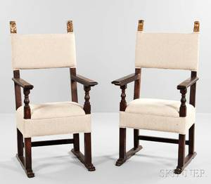 Pair of Baroquestyle Walnut Armchairs