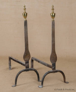 Pair of Queen Anne wrought iron and brass knife blade andirons