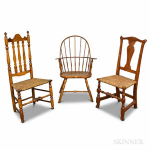 Sackback Windsor Chair a Chippendale Tiger Maple Chair and a Maple Banisterback Chair