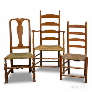 Two Maple Slatback Chairs and a Queen Anne Maple Chair