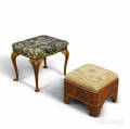 Two Late Federal and Queen Annestyle Mahogany Footstools
