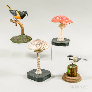 Four Painted Wood Carvings