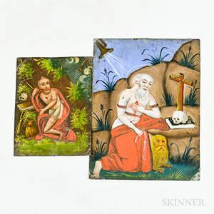 Two St Jerome Painted Tin Retablos