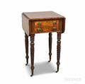 Classical Carved Mahogany Twodrawer Dropleaf Worktable