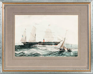 Framed Handcolored Lithograph of the Paddlewheeler President