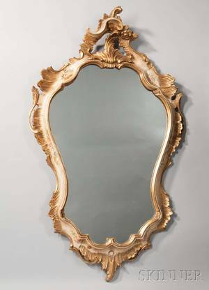 Louis XVstyle Painted Giltwood Mirror