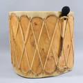 Large Taos Hidebound Glasstop Drum Table