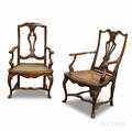 Pair of Continental Rococo Carved Walnut Armchairs
