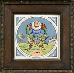 Framed Minton Hollings  Co Ceramic Tile of a Cock Fighter