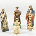 Four Small Carved and Painted Religious Figures