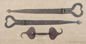 Pair of Pennsylvania wrought iron strap hinges ca 1800