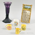 Four Childs Mugs a Sandwichtype Amethyst Vase and a Miniature Tabernacle Mirror