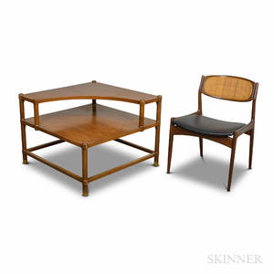 Selig Midcentury Modern Teak Chair and an Unmarked Corner Table