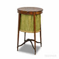 Federalstyle Inlaid Mahogany Upholstered Sewing Stand