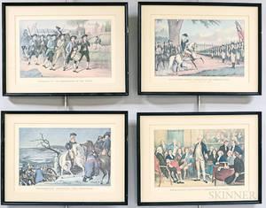 Twelve Framed Currier  Ives Restrike Lithographs of Revolutionary War Subjects