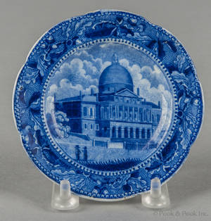 Historical blue Staffordshire State House Boston cup plate 19th c