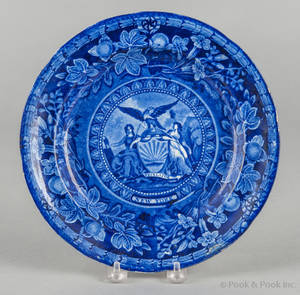 Historical blue Staffordshire Arms of New York plate 19th c