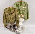 WWII Uniform Hat Canteen and a Pair of Boots