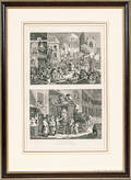 Framed Hogarth The Times and a Country Inn Yard Engraving
