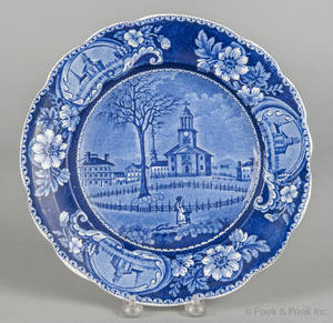 Historical blue Staffordshire Winter View Pittsfield Massachusetts plate 19th c