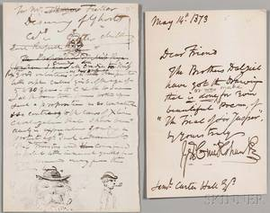Cruishank George 17921878 Three Autograph Letters Signed with Drawings