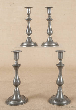Two pair of pewter candlesticks ca 1840