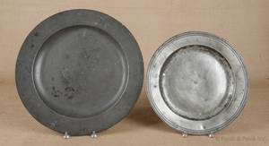 Large English pewter charger ca 1700