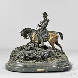 After PierreJules Mene French 18101879 Bronze Figural Group of a Horseman with Hounds