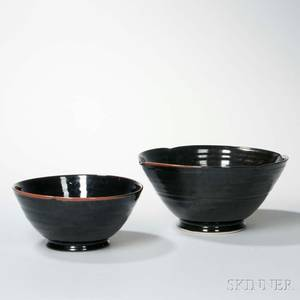 Two Large Blackglazed Pottery Bowls