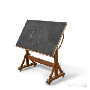 John Willard Renaissance Revival Oak and Poplar Drafting Table