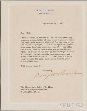 Eisenhower Dwight D 18901969 Typed Letter Signed 14 September 1956