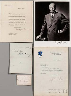 Presidential Signatures and Signed Documents 20th c Nine Examples