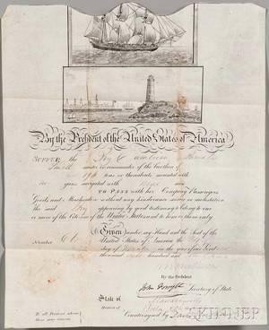 Van Buren Martin 17821862 Signed Ships Passport 24 November 1837