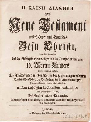 Bible New Testament Greek and German Martin Luther Das Neue Testament unsers Herrn und Heilandes Jesu Christi dergestalt eingerich