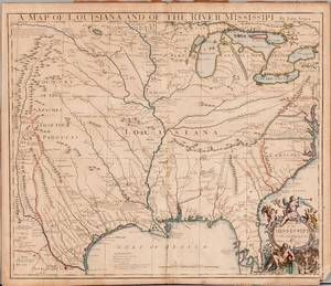 Louisiana Texas Gulf Coast Great Lakes and the Mississippi John Senex 16781740 A Map of Louisiana and of the River Mississipi