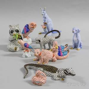 Ten Herend Porcelain Animals