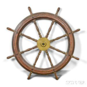 Large Walnut and Brass Ships Wheel