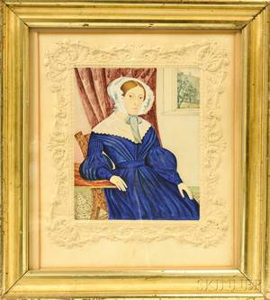 Framed Watercolor Portrait of a Woman with Ornate Embossed Border