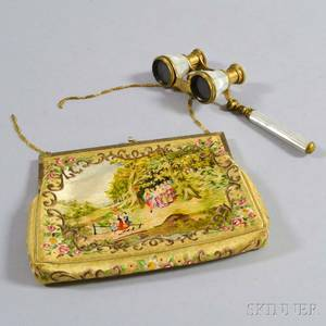 Pair of Marchand Motherofpearl Opera Glass and an Embroidered Silk Purse