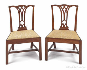 Pair of Philadelphia Chippendale mahogany dining chairs
