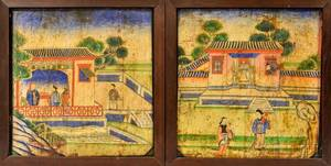 Pair of Painted Wood Panels