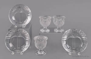 Set of three Lalique clear and frosted glass lion match holders and ashtrays