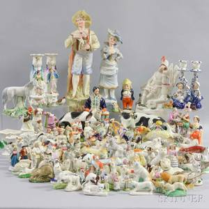 Large Group of Staffordshire and Staffordshiretype Ceramic Figures