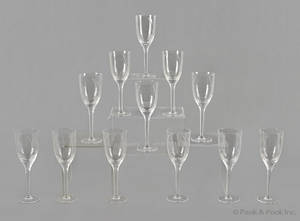 Twelve Lalique clear and frosted wine glasses in the angel pattern