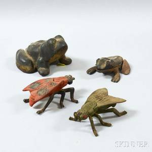 Four Polychrome Cast Iron Frogs and Insects