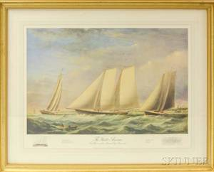 Framed Modern Print After Fitz Hugh Lanes The Yacht America